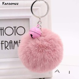 $enCountryForm.capitalKeyWord Australia - Fur Ball Pom Pom Fluffy Keychain Small Bell Rabbit Keyring Car for Women Charm Bag Key Chians Pendant Accessories Gifts 6C2509