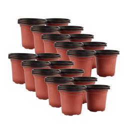 Venta caliente 50 Unids / set Dual Color Plástico Vivero Macetas Maceta Cultivando Sembrador Pot Drop Ship - Marrón + Negro envío gratis en venta