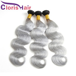 Discount toning machines for hair Raw Indian Virgin Ombre Human Hair Bundle Dark Root Gray Body Wave Hair Weaves Cheap Two Tone 1B Grey Ombre Hair Extensions For Sale