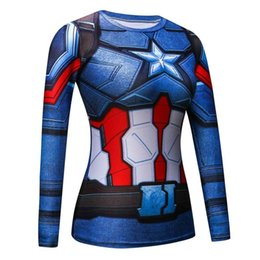 Discount captain america woman costume - Black Panther Compression Shirt 3d Printed T-Shirts Women Captain America Slim Long Sleeve Tops Female Cosplay Fitness C