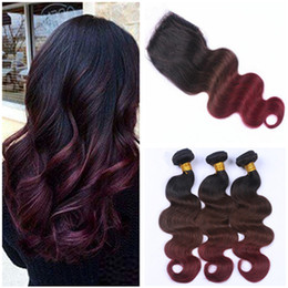 $enCountryForm.capitalKeyWord NZ - Body Wave #1B 4 99J Wine Red Ombre Virgin Hair Weaves with 4x4 Lace Closure Black Brown to Burgundy Ombre Human Hair Bundles