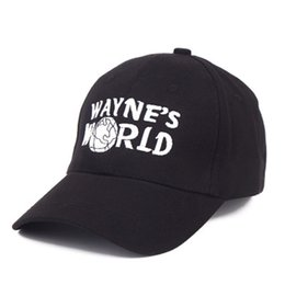 Pure black baseball caPs online shopping - Wayne World Hip Hop Caps Baseball Cap Unisex Mesh Adjustable Size Embroidery Black Four Seasons Pure Cotton Color kb dd