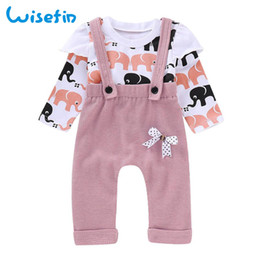 Discount kids elephant top - Wisefin Baby Girls Clothes Set Long Sleeve Elephant Tops+Overalls Pants Toddler Outfits Print Infant Clothing Sets Kids