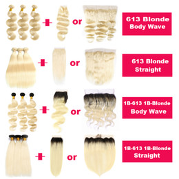 blonde ombre virgin hair NZ - Blonde 1B Blonde Brazilian Virgin Human Hair Extension 613 1B-613 Straight Body Wave Ombre Hair Bundle Deals with Closure Frontal Hair Weave