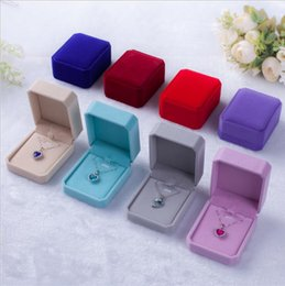 Discount jewellery boxes packaging velvet - 9pcs lot 9 Color Jewelry Packaging Boxes 7*8*4cm Necklace Earrings Ring display case Valentine Gift Box for Jewellery di