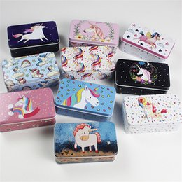 tin boxes wholesale NZ - 5 Pieces lot Fantasy Unicorn Min Tin Box Mac Cosmetics Makeup Organizer Case Metal Tea Coin Candy Box Wedding Favor Gift Box