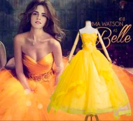 Discount belle costumes for women Belle Golden Costume For Women Party Girl Long Cosplay Dress Cos Custom Made