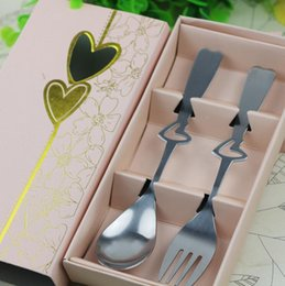 free bags for birthday parties NZ - Free shipping SG 50 sets lot Perfect Pair Coffee Spoons and fork in gift Box Party souvenirs Wedding Gifts for Guest