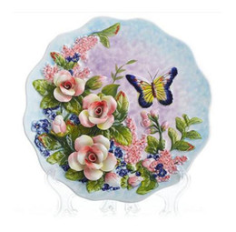 home decor bamboo wall UK - Rose butterfly decorative wall dishes porcelain decorative plates vintage home decor crafts room decoration figurine