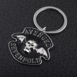 Discount punk cartoon girls - Music Band Avenged Sevenfold Keychain Punk Style Skull With Wings Avenged Sevenfold Logo keyring