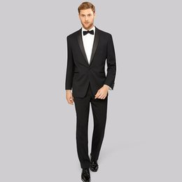 blue formal suits UK - 2018 Men Suits Black Shawl Lapel Business Wedding Suits Slim Fit Formal Tuxedo 2Piece Custom Made Blazer Prom Best Man Evening Dress Party