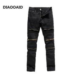 hot black stretch pants 2019 - 2017 new high street hot sale new trade men's feet stretch jeans long male trousers zipper tide brand 009 black coz