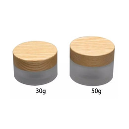 frosted cream jar cap Australia - Free shipping 30g 50g frosting glass cream bottle, cosmetics packing jar with wood willow lid wen6953