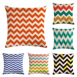 45x45cm Colorful Flax Pillow Case Home Sofa Striped Wave Pillow Case  Digital Printing Flax Pillow Cover Cushion Cover 23 Colors MMA340  Inexpensive Striped ...