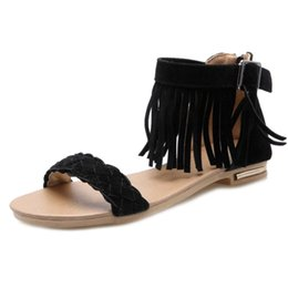 $enCountryForm.capitalKeyWord UK - SJJH 2018 Bohemia Flat Sandals with Tassels Comfortable Faux Suede Material Elegant Dressy Shoes for Fashion Woman with Size Available A442