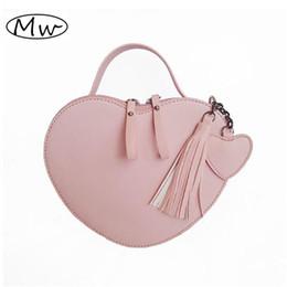 Heart Shaped Bags NZ - Lolita Tassels Loved Heart Shaped Bag Women PU Leather Handbag Crossbody Bags For Girls Ladies Shoulder Messenger Bag Sac A Main