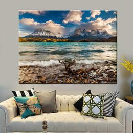 mountain home painting NZ - Canvas Wall Art Pictures Home Decor For Living Room Framework 1 Piece Pcs Snow Mountain Beach Painting HD Prints Sea Wave Poster