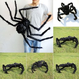 Discount furry toys - Halloween prop spider stuffed toys haunted house decor Horrible Big Black Furry Fake Spider 75cm 125cm