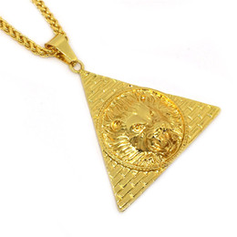 lion charms gold UK - Trendy NEW High Quality Animal Charm Lion Head Lion King Pendant Egyptian Pyramid Necklace Hip Hop Style Men's Jewelry Gift