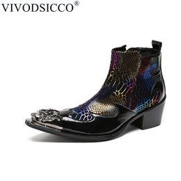 VIVODSICCO Fashion Luxury Men Boots Genuine Leather Ankle Sanke Boots Men  Italian Business Dress Shoes Pointed Toe Cowboy a6e9eb79e019