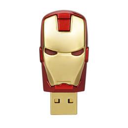 Thumb Flash Drive Australia - Free Shipping 10PCS LOT 64MB LED Iron Man USB Flash Drives Thumb Pen Drives Storage for PC Laptop Tablet 64mb USB 2.0 Memory Stick Gold