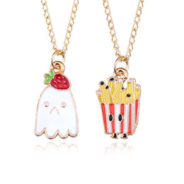 $enCountryForm.capitalKeyWord Australia - DIY Trendy Food Pendant Cartoon Ice Cream Strawverry Necklace Gold Chain French Fries Necklaces&Pendants Sad Face DropShipping