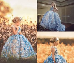 $enCountryForm.capitalKeyWord NZ - Ball Gown Flower Girl Dresses For Wedding Backless Floor Length 3D Floral Applique Beauty Girls Pageant Dress Party Wear Prom Gowns