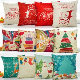 54 car 2019 - Christmas Pillow Case Snowflake Reindeer Pillowcase Linen Cartoon Cushion cover Home Sofa Car Decor Without core 45*45cm
