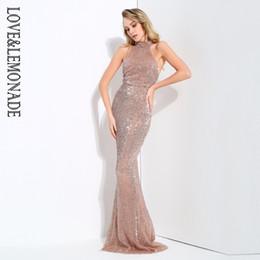 d3c09b5d8e6 Love Sequin Dress Canada - Love Lemonade Collar Open Back Fold Elastic  Sequins Long Dresses 4 Colors