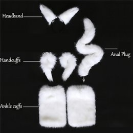 White Tail Cosplay Australia - White Sexy Faux Fox Tail Hand Cuffs Ankle Cuffs Headband Cosplay Set Anal Plug Silicone Butt Plug Adult Games Sex Toys For Women