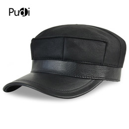 1da0f52b HL7115 real leather baseball cap hat winter warm Russian old men one fur  beret army ear Flap caps hats with real fur inside