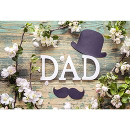 Paper Photography Backdrops Australia - Happy Father's Day Photo Backdrop Wooden Board White Flowers Black Paper Cut Hat Beard Dad Party Themed Photography Backgrounds