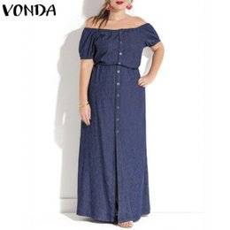 be6da42409d VONDA Maxi Long Dress 2018 Summer Women Sexy Off The Should Denim Dress  Vintage Casual Button Short Sleeve Vestidos Plus Size