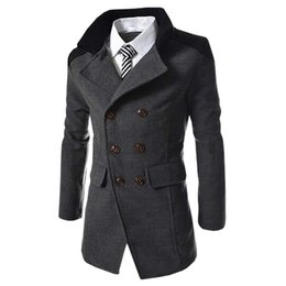 Hot Sale Autumn Long Wool Coat Men Fashion Turn-down Collar Wool Blend Double Breasted Pea Coat Jacket Men  Overcoats