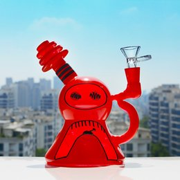 mobius stereo matrix 2019 - Red Cartoon Snowman Thread Mouth Dab Rig Mobius Stereo Matrix Perc Recycler Oil Rigs Glass Water Tube Glass Water Bongs