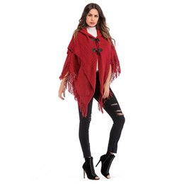 Discount ladies knitted shawl - Autumn Winter Women Knitted Button Tassel Vintage New Hot New Fashion Elegant Batwing Sleeve Blouses Hooded Cape shawl L