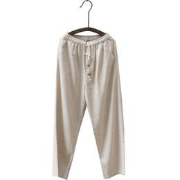 8e67645f4de Chinese Style Men Loose Cotton Linen Pants Plus Size Drawstring Hight Waist  Pant Vintage Ku Fung Long Trousers M L XL 3XL 4XL