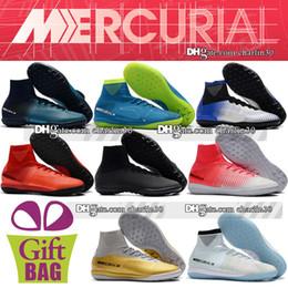 Cr7 Ronaldo Boots Canada - New 2018 Mercurial Superfly CR7 White Indoor Soccer Cleats TF IC Socks Superfly Neymar ACC Turf Soccer Shoes Ronaldo Football Boots Indoor