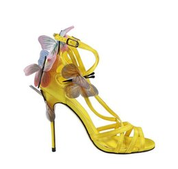 1edd60544f04 2018 brand new women butterfly sandals celebrity shoes blue high heels  wedding shoes thin heel ladies wings party shoes lace up sandals