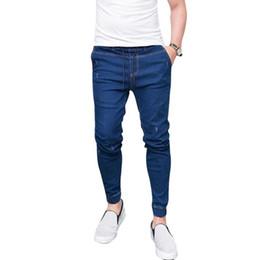 Wholesale Jeans Slim UK - Litthing Fashion Spring Autumn Long Pencil Pants Male Casual Slim Jeans Brands Fit Slim Trousers Elastic Waist Male Pantalones