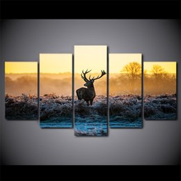 african canvas prints NZ - 5 Pieces Set HD Modern Canvas Wall Painting African sunset deer Home Decor Picture Poster Prints Artworks