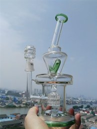 Vortex Pipes Australia - 2 Function Green Pulse Oil Rigs Glass Bongs Solid Glass Water Pipes Hookahs Vortex Fab Egg Bong With 14mm Nail Chamber