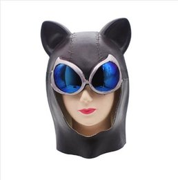 Wholesale New Design Hot Halloween Mask Party Supplies Dress Catwoman Black Full Face Cosplay Costume Sexy Cat Female Head Cover Beauty Bat Pure Mask