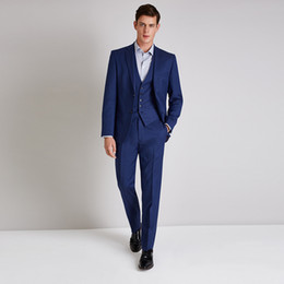 latest suit dress men UK - Latest coat pant designs elegant navy blue men suits classic man dress for business wedding prom slim fit blazers pants vest
