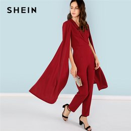 0cc42fa50d 20187 SHEIN Burgundy Party Elegant Cape Sleeve Surplice Wrap Tailored High  Waist V neck Jumpsuit Summer Women Going Out Jumpsuit