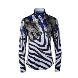 Social Shirt Slim fit online shopping - Fashion Luxury Fancy Shirts Men Casual Shirt Men social dress Shirts Italian Slim Fit Fish Zebra Stripes printed Tuxedo Shirts