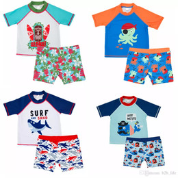 Boys two piece swimwear online shopping - 2pcs INS Kids Shark Whale cartoon Boys Swimsuit octopus Marine style Printed set short sleeves pullover Swimwear Bathing Suit styles FFA173