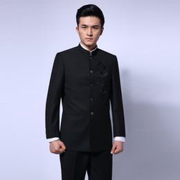 Dark Blue Suits Australia - Men's Single Breasted Suit Dragon Chinese Style Tunic Jacket Trousers Blazer Embroider Black  Dark Blue Slim