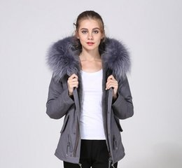 $enCountryForm.capitalKeyWord Australia - women winter snow coats Meifeng brand Designer grey rabbit fur lined grey canvas mini parka with ykk zipper ladies short parkas
