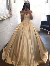 Wholesale 2018 Gold Princess Evening Dresses Appliques Off Shoulder Ball Prom Gowns Satin Quinceanera Dress Sweep Train Custom Made